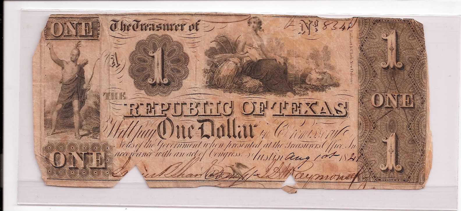 Object: Change Note (Republic of Texas $1.00 change note)   UTSA Institute Of Texan Cultures