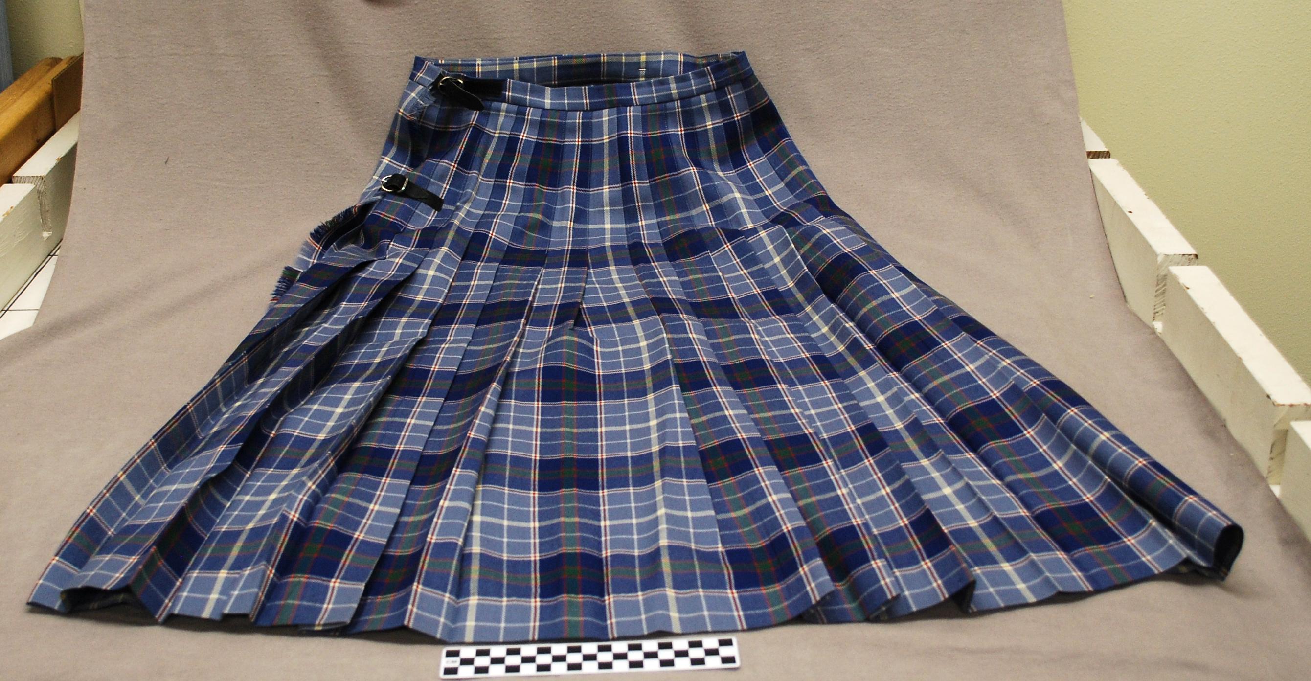 Object: Kilt (Women's Kilt in Texas Bluebonnet Tartan)   UTSA Institute Of Texan Cultures