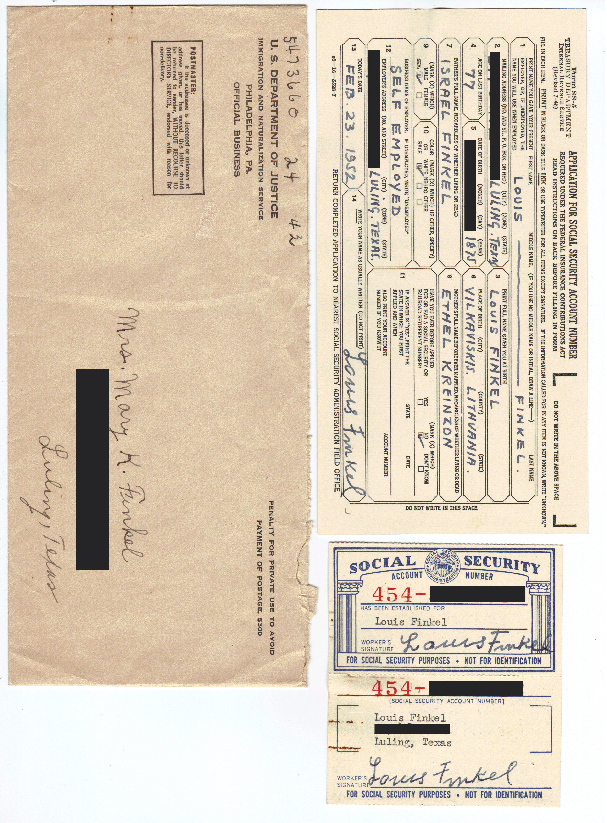 Object: Social Security card (USA Social Security Card and Application)   UTSA Institute Of Texan Cultures