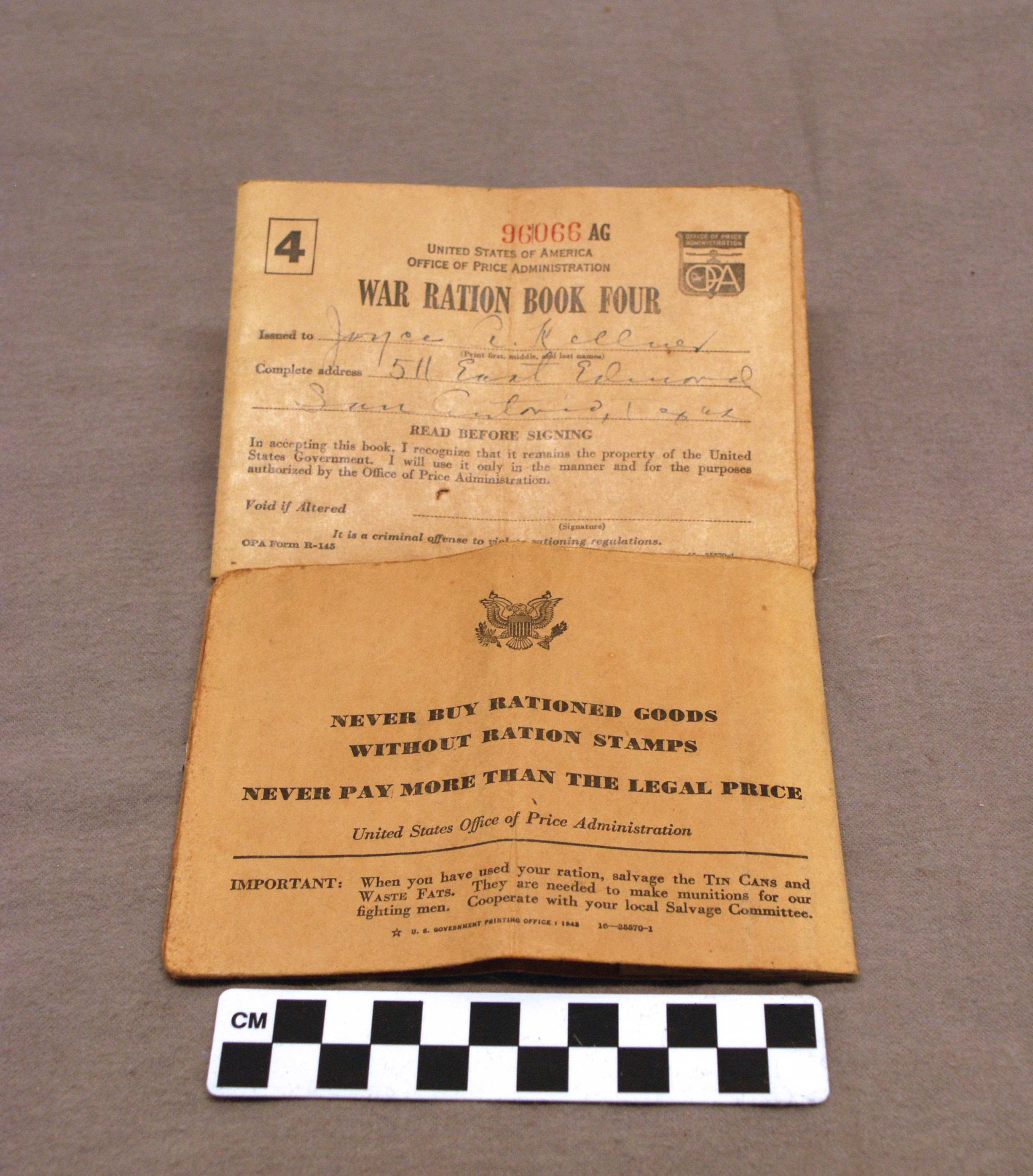 Object: Ration book   UTSA Institute Of Texan Cultures
