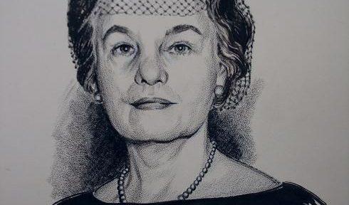 Pen and ink drawing of Oveta Culp Hobby