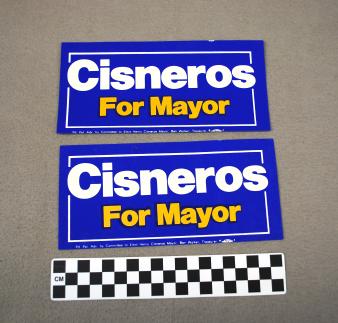 Object: Bumper Sticker (Henry Cisneros for Mayor Bumper Sticker)   UTSA Institute Of Texan Cultures