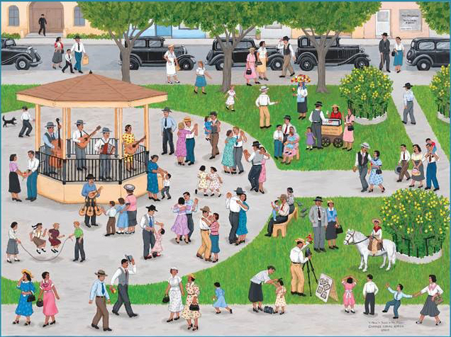 Object: Painting (A Plaza in Texas in the 1930's)   UTSA Institute Of Texan Cultures