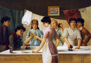 Kingsford's Oswego Starch. Advertisement showing seven women around table ironing. Julius Bien & Co., N.Y., Public domain, via Wikimedia Commons.