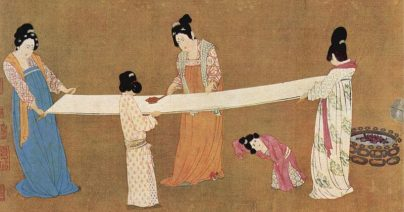 Ladies working new silk by Master Chang Hsüan, early 12th century. Museum of Fine Arts, Public domain, via Wikimedia Commons.