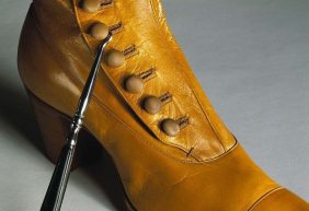 Women's boot from 1899 with boot clasp. Image by Birgit Brånvall, via Wikimedia Commons.