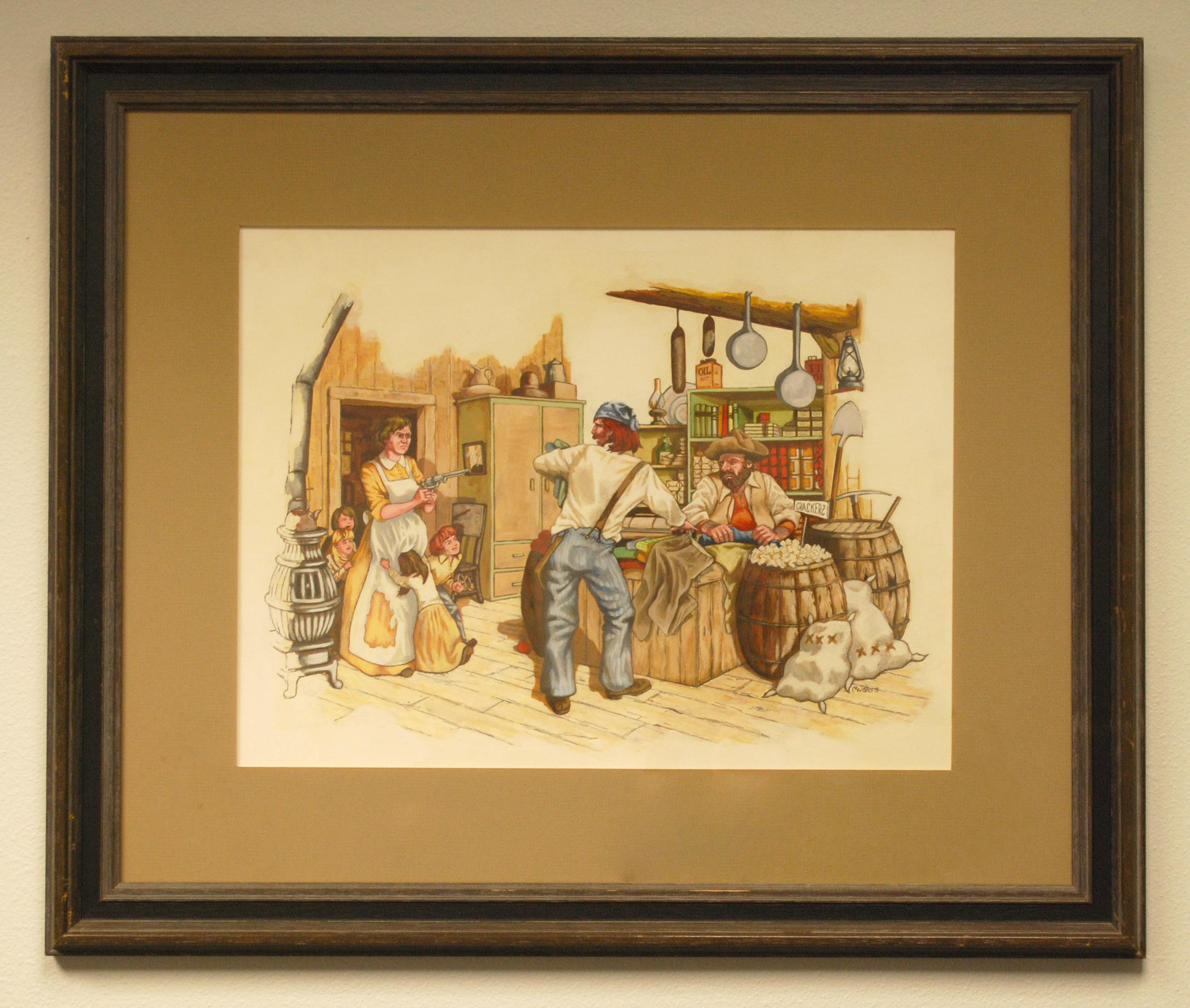 Object: Painting (Helena Landa Fending off Robbers)   UTSA Institute Of Texan Cultures