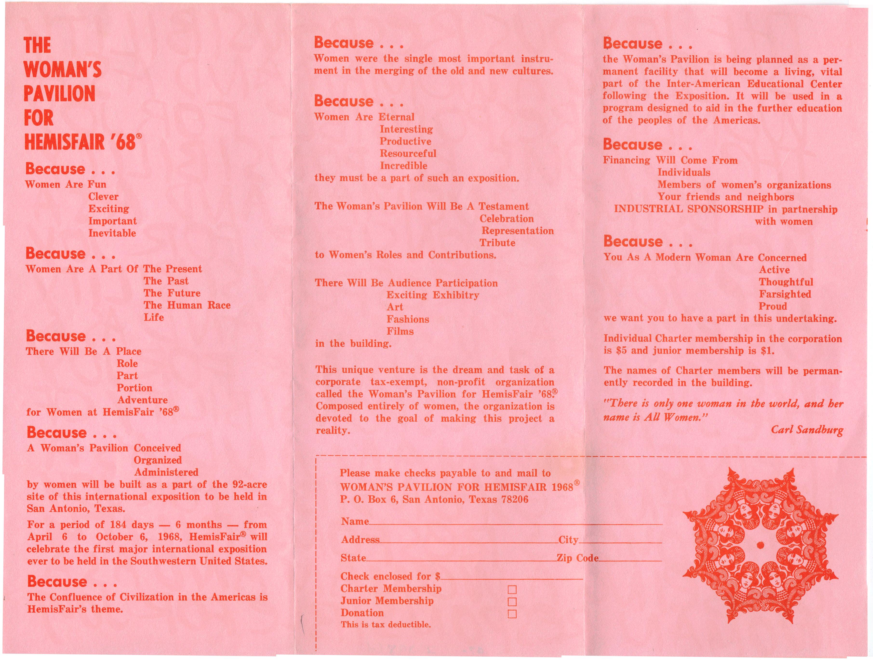Object: Handbill (Woman's Pavilion for HemisFair '68 Brochure) | UTSA Institute Of Texan Cultures