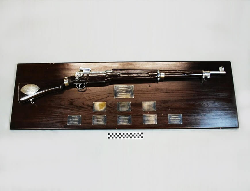 M1917 Enfield rifle mounted on a commemorative wooden display for Army Lieutenant Colonel William Mastoris