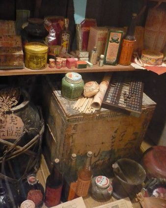 A display of Chinese apothecary materials from the late 19th century. Photo by Ellin Beltz, via WikiMedia Commons.