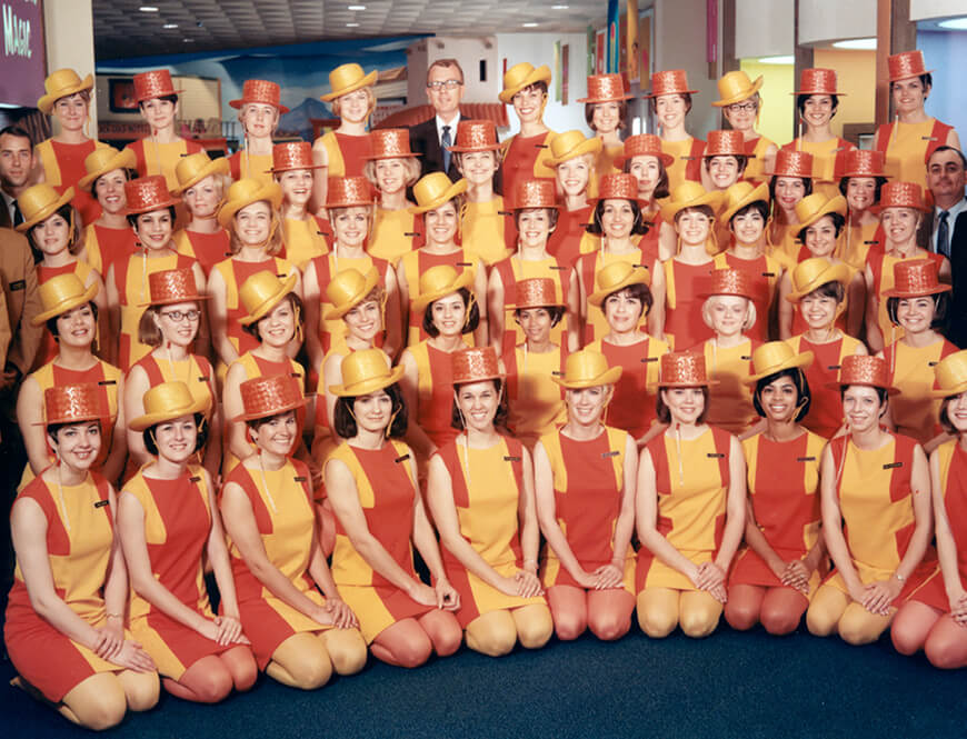 <strong>Group portrait of the attendants in the Bell Telephone System Pavilion</strong><div>1968. Group portrait of the attendants (guides) in the Bell Telephone System Pavilion at HemisFair '68.</div>