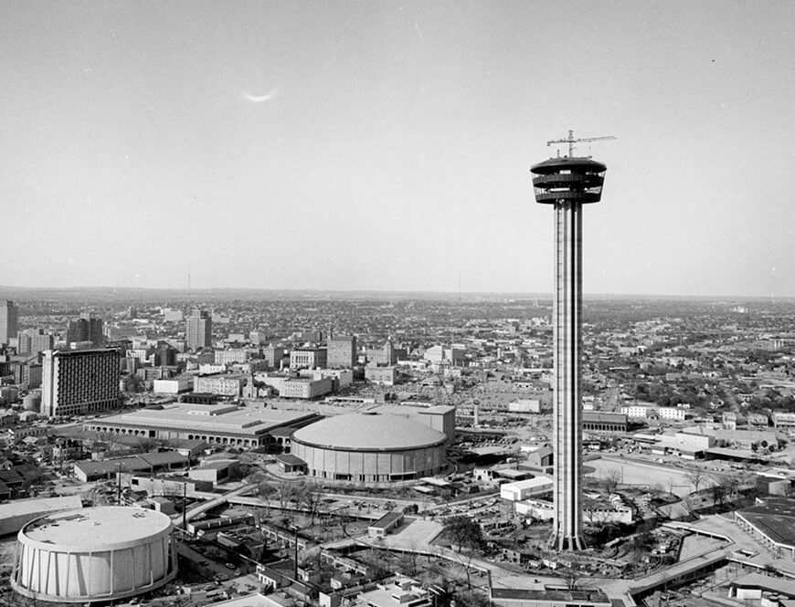 <strong>View of the HemisFair '68 construction site</strong><div>February 1968. View of the HemisFair '68 construction site with the Tower of the Americas nearing completion. View looking northwest. </div>
